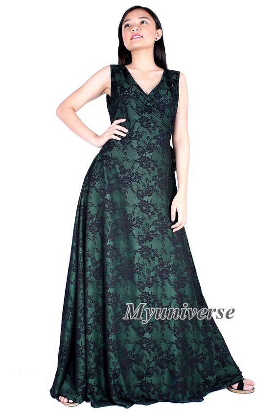 0e066b44c69 Black Lace Formal Gown Bridesmaid Dress Infinity Dress Green