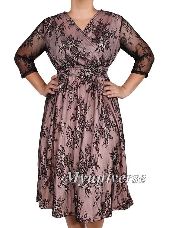 Pizzo nero Plus Size abiti Blush colore per donne formale  d6b2b7b2f6c