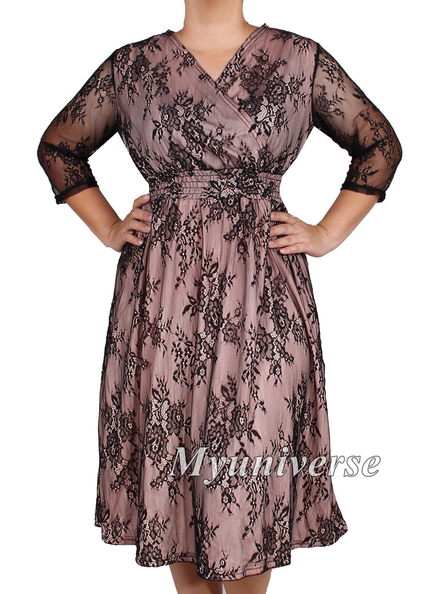 Black Lace Plus Size Dresses Blush Color For Women Formal | Etsy