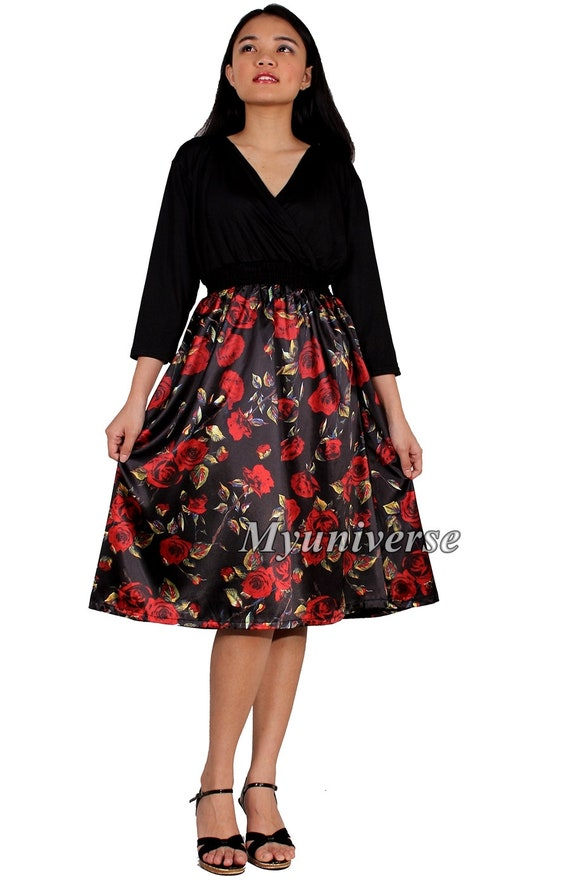 Knee Length Plus Size Dresses For Women Short 34 Sleeves Wear Etsy
