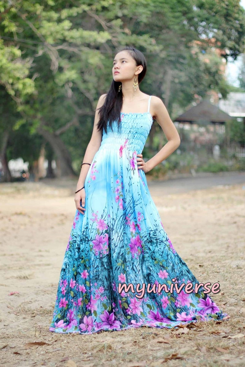 1f16c4b12eb6 Blue Floral Maxi Dress Sundress Women Plus Size Dress Clothing | Etsy