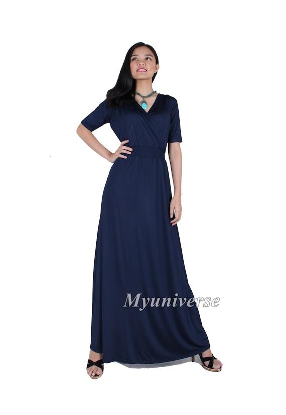 279529655d7 Besonderen Anlass Kleid lang Navy Blau Plus Größe Kleidung