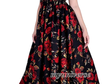 Maxi Dress For Women Plus Size Clothing Floral Summer Long Sundress Red Rose Elegant Gala Evening Semi Formal Gown Party Dress Wedding Guest