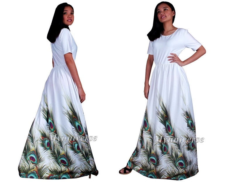 3ac00c730b5 White Peacock Maxi Dress Plus Size Clothing Wedding Guest