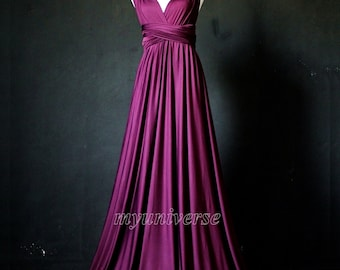 Dark Purple Bridesmaid Dress Wrap Convertible Dress Infinity Dress Maxi Dress Formal Evening Ball Gown Plus Size  Customize Size & Length