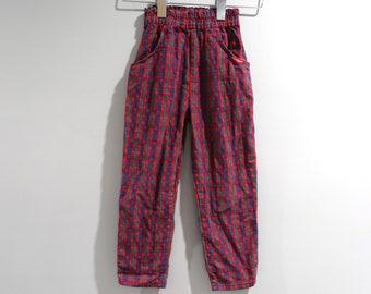 Vintage Osh Kosh Pants Girls Size 6 Red Plaid Apples Elastic Waist A Baby & Toddler Clothing