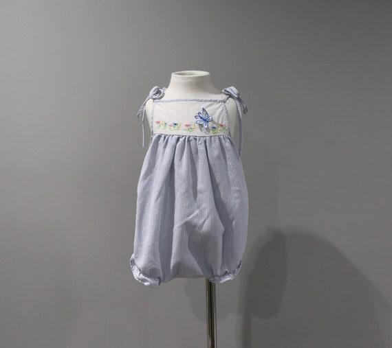 d6cd900a1f4f Vintage Romper Sunsuit Baby Girls Size 0 6 Months Blue White