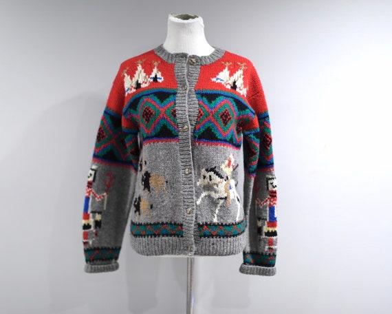 Vintage Cardigan Sweater Womens Medium Shetland Wo