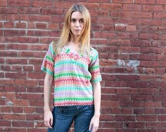 Vintage Women's Size Small Medium Crochet Knit Top Handmade1970's