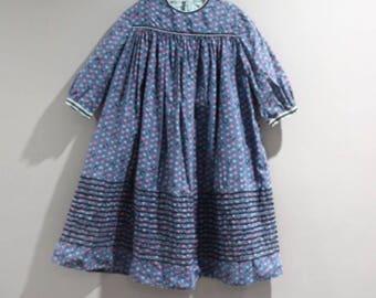 Vintage Girls Size 4 5 Novelty Print Dress Cats Birds Rick Rack Trim
