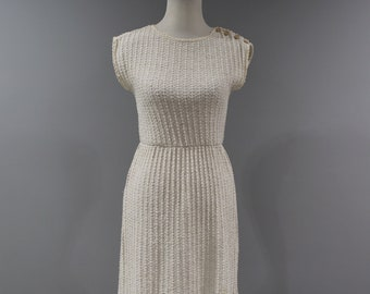 Vintage Womens Dress Size 6 8 Knit Off White