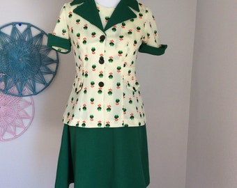 Vintage women's dress 2 pieces polyester
