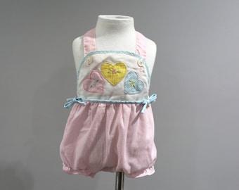 Vintage Romper Baby Girls Size 6 9 Months Pink Gingham Sunsuit Hearts