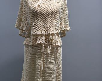 Vintage Womens Size Medium 2 Piece Crochet Off On Shoulder 2 Piece Skirt Top Set 1970s