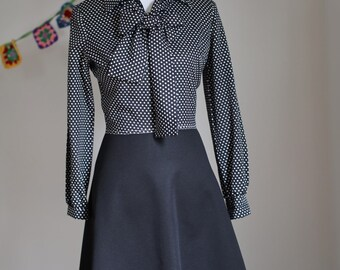 Vintage Women's Black and White Polka Dot Polyester Rockabilly Dress 1970's