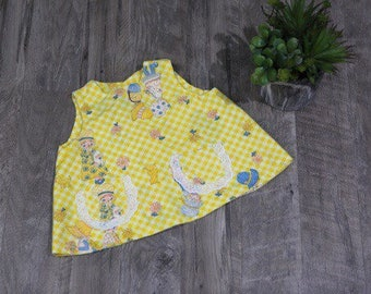 Little Girls Size 12 18 Months Swing Top Open Back Yellow Gingham Cats
