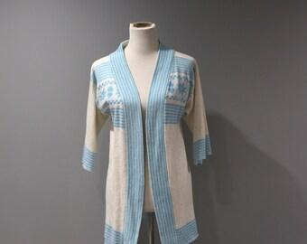 Vintage Long Open Cardigan Sweater Womens Size Medium Large M L 70s 80s