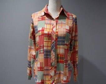 Vintage Blouse Womens Size 4 6 Button Front Faux Patchwork Long Sleeve Top