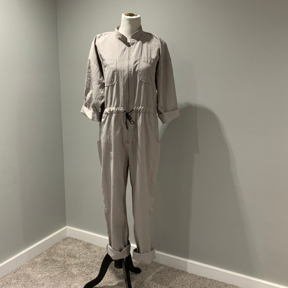 Vintage Jumpsuit Womens Large L Gray 3/4 Sleeve Zi
