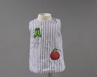 Vintage Baby Girls Dress 6 12 Months Blue Ticking Striped Applique Vegetables