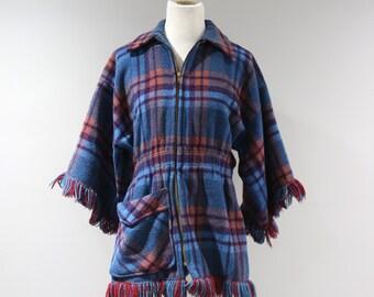 Vintage Pioneer Wear Wool Jacket Womens Size Medium Plaid Zip Front Fringe