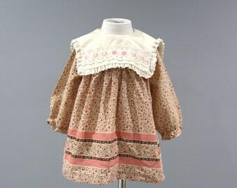Vintage Dress Baby Girls Size 12 Months Beige Floral Modest 80s