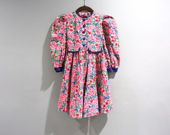 Vintage Girls Floral Dress Plum Pudding Size 6 Runs Smaller 90s