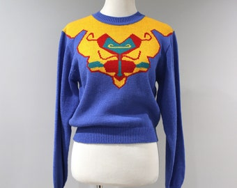 Vintage Sweater 90s Womens Size Small S Blue Heart Long Sleeve Jaymee Papell