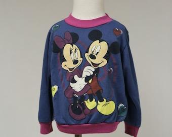Vintage Girls 2T Disney Mickey Minnie Mouse Toddler Sweatshirt