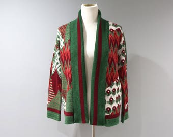Vintage Space Dye Cardigan Sweater Womens Size Small S Red Green 70s Hippie
