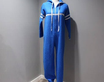Vintage Womens Size 11 12 Blue One Piece Hooded Pajamas Zip Front