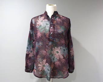 Vintage Sheer Blouse Womens Size Small S Byer California Boho Hippie Top