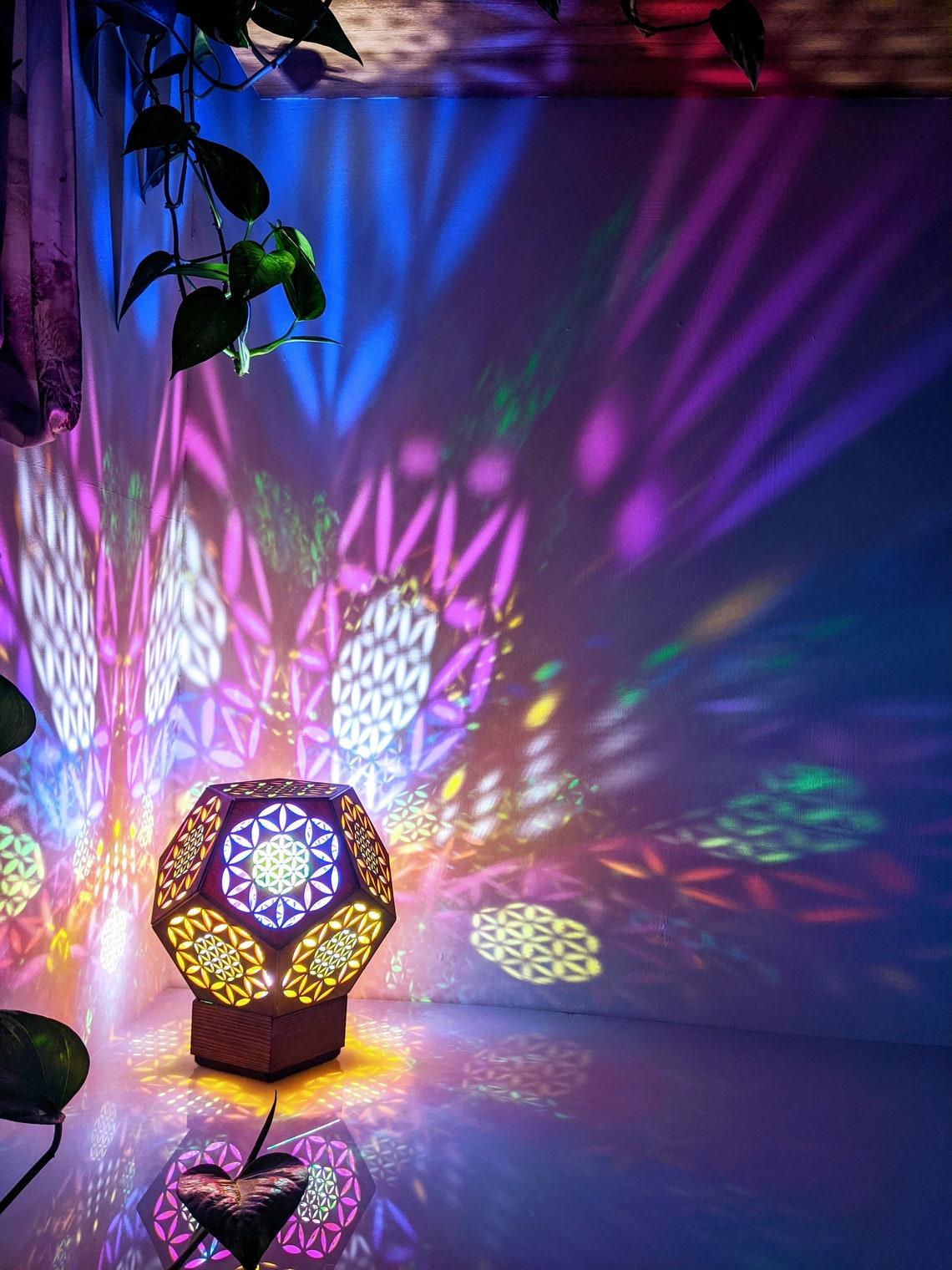 Wooden Lamp,  Flower of Life Lamp, Flower of Life, Lighting, Sacred Geometry, Wood Lamp, Wood Light, Pink Lamp, Shadow Lamp,