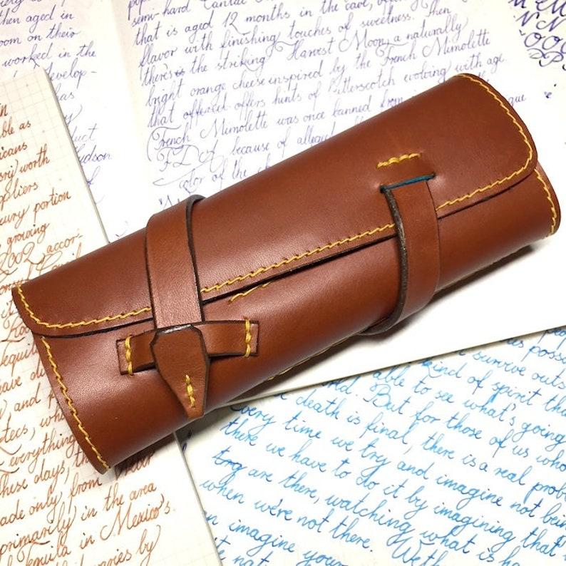 a206828ff1ae Pen Roll, leather pen roll, leather pen storage, leather pen holder,  fountain pen roll, pen case, chestnut color, turquoise deerskin, garny