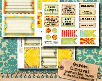 Circus Journaling Cards and Embellishments - printable
