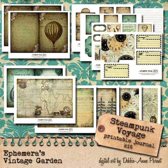 Steampunk Voyage 5x7 - printable journal kit