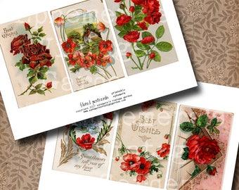 Vintage Postcards - Red Floral