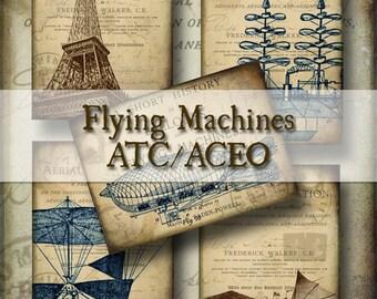 Vintage Flying Machines ATC - Digital Collage Sheet - dirigibles hot air balloon airships printable supplies