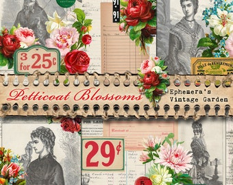 Petticoat Blossoms - 5.5 x 8.5 inch Printable Journal Kit