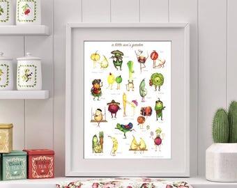 GARDEN POSTER - Fruit + Vegetable Illustration,  Identification Chart, nursery art, kitchen decor, vegetarian gift, Secret Santa, fruit art