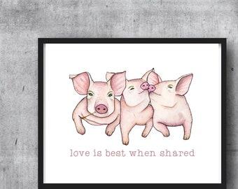 PIGS - PRINT W/ WORDS -  illustration, pig art, illustration, pig print, nursery art, childrens art, home decor, animal art