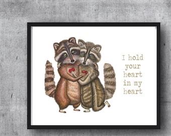 RACCOONS - PRINT W/ WORDS -  illustration, love art, Raccoon art, gift, love print, anniversary, memorial, lost loved ones, animal art