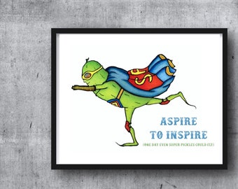 SUPER PICKLE - PRINT W/ Words - What's Green and Flies? illustration, kid's room art, Super hero, marvel, gift for him, superman