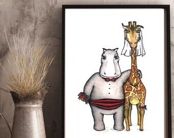 HIPPO & GIRAFFE - Art PRINT - Wedding, Anniversary, engagement, Love Illustration -  She said yes!