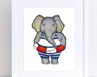 ELEPHANT Swimmer - ART PRINT  - illustration, lifesaver, animal art, nursery art, children's print, learning to swim