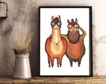 LLAMA Detectives - ART PRINT  - A Little Sun, Llama art, Alpaca art, private-eye, detectives, animal art, home decor