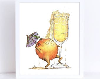 MIMOSA  - ART PRINT - Orange Juice, champagne, brunch, cocktail, sunday funday, shower, bachelorette, illustration, bar art, kitchen art