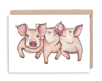 PIGS Note Card - BLANK - birthday card, anniversary card, thank you card, pig art, pig illustration