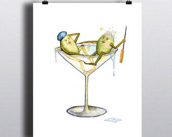 Dirty MARTINI  - ART PRINT - Olives, cocktail, illustration, bar art, kitchen art