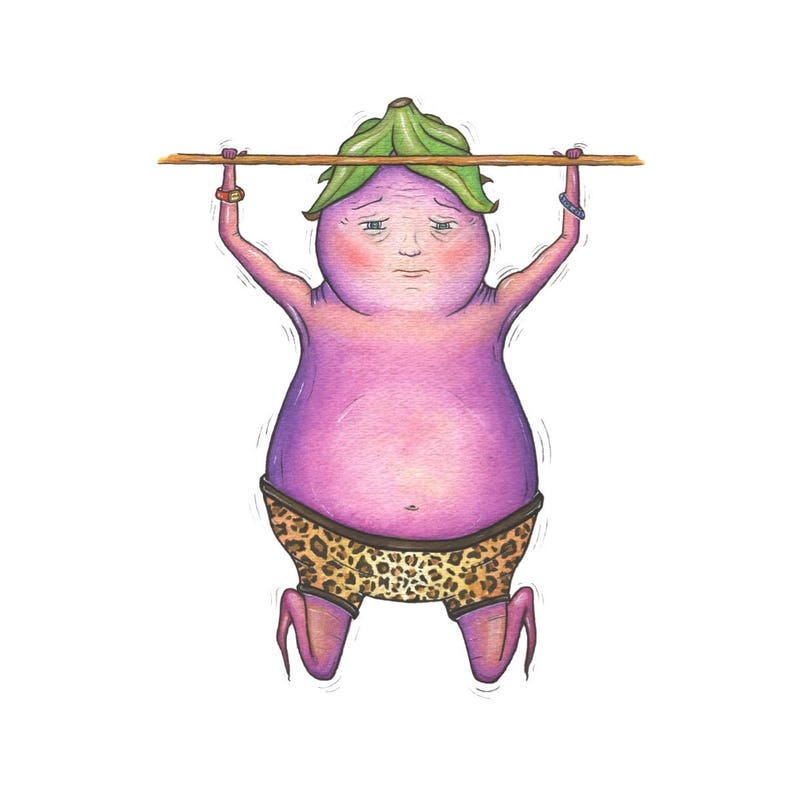 Exercising EGGPLANT  ART PRINT  illustration get in shape image 0
